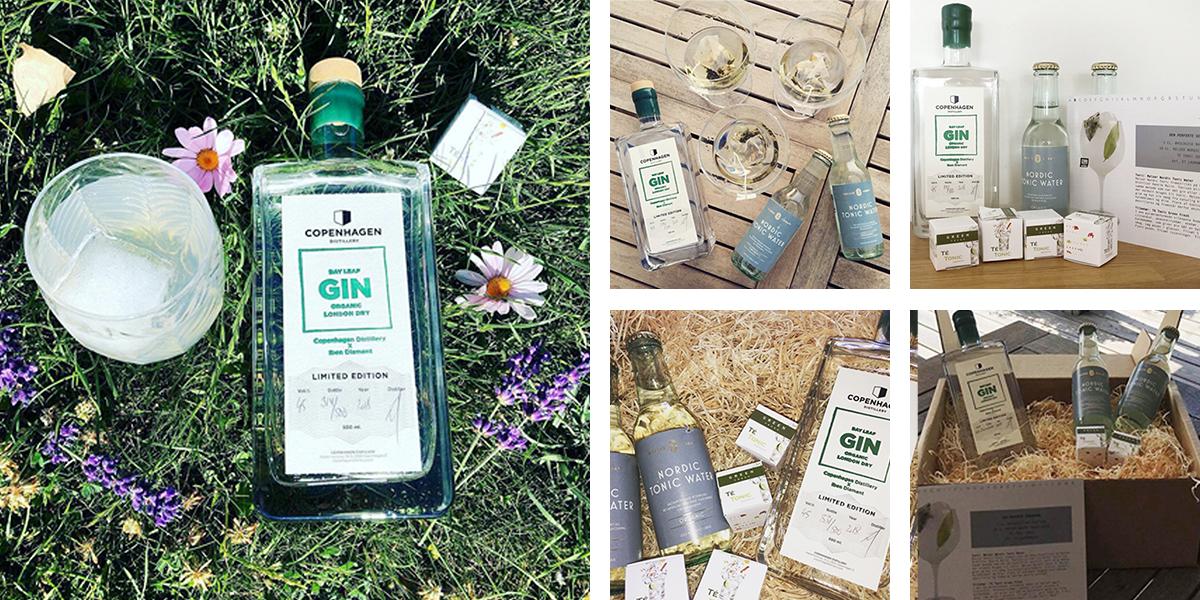 Juli måneds Ginkasse. Bayleaf Gin, Metzler Tonic, te-tonic green og opskriftskort.