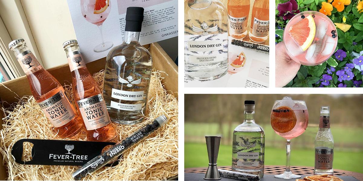 Maj måneds Ginkasse. Frederiksberg Dry Gin, Fevertree Aromatic Tonic, Enebær og opskriftskort.
