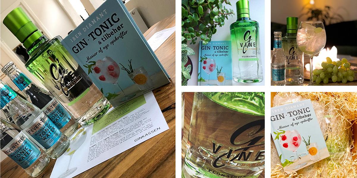 Oktober måneds Ginkasse. G'Vine Gin Floraison, Fevertree Mediteratian, Gin, tonic og tilbehør - masser af nye opskrifter bogen og opskriftskort.